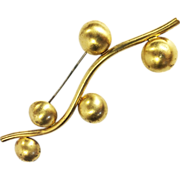 SALE Industrial Deco Modernist Abstract Wavy Brooch with Half Ball Accents