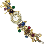 SALE KIRK'S FOLLY Lucite Glitter Bezel Multi Charm Link Band Watch Bracelet