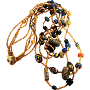 SALE Ultra Long Amber Color and Multi Bead Multi Strand Necklace by JAY FEINBERG aka ...