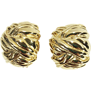 SALE Ribbon Textured Gold Tone Metal Abstract Button Earrings