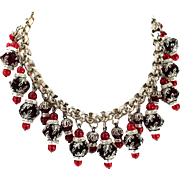 SALE Holiday Red Black and Silver Tone Bead Caps with Rondelles dramatic Bib Necklace