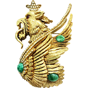 SALE KRAMER Mythical Fire Breathing Winged Lion Figural Gold Tone Brooch with Green Cabochons