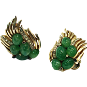 SALE TRIFARI Flying Winged Gold Tone Metal with Deep Green Cabochon Earrings
