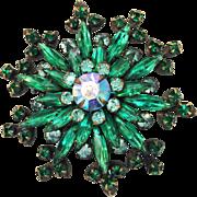 SALE Shades of Green and Aurora Borealis Rhinestone Giant Snowflake Shaped Swedged Back 1950s