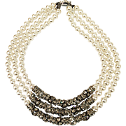 Triple Drop Strand Arctic White Faux Pearl Necklace with Round Ball and Line Clear Rhinestone