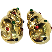 CINER Large Bright Gold Tone Nautilus Earrings with Mogul Stones