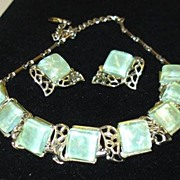 SALE Great Pale Green Irridescent Coro Lucite Necklace and Earring Set