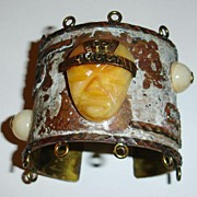 SALE Unusual Faced Weathered Copper, Brass and Bakelite Bracelet