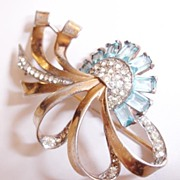 SALE Sterling with Wash Fabulous Aqua and Clear Retro Rhinestone Brooch Numbered