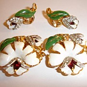 SALE Very Old 1930's Coro Enameled and Rhinestoned Floral Duette Dress Clips and Earrings