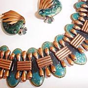 SALE Matisse/Renoir Enameled Copper Bracelet and Earring Set