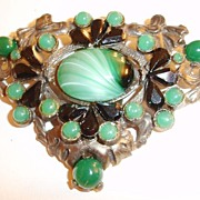 SALE Unusual Large Green and Black 1930's Dress Clip/Brooch