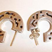 SALE 1970's 925 Sterling Cut out Hoop Pierced Earrings