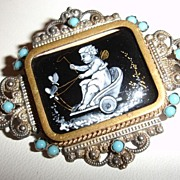 SALE Mid 1800's Antique Cherub in a Chariot Brooch C-Clasp