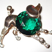 SALE Trifari Sterling Green Faceted Rhinestone Chested Playful Poodle Brooch