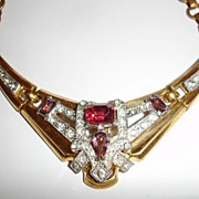 SALE McClelland Barclay Raspberry Red, Plum and Diamond Colored Rhinestone Necklace