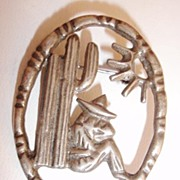 SALE Mexico Sterling Siesta Man Against a Cactus Figural Brooch