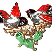 SALE Fred Gray Rhinestoned Bellied Sparrows in a Bird Bath Enameled Figural Brooch