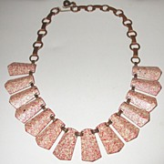 SALE Fabulous Red, Pink and Ivory Speckled Enamel Copper Necklace