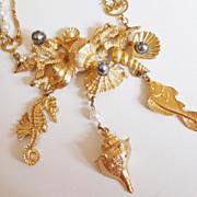 SALE Vintage Napier Larger Than Life Sea Creatures Figural Necklace