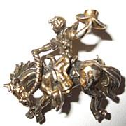 SALE Coro Americana Western Cowboy Riding Horse Figural Brooch