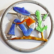 SALE Truart Sterling Enameled Mexican Relaxing Against a Cactus Brooch