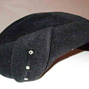 SALE Fabulous Black Imported Furry Felt Hat with Rhinestones-1940's-1950's