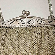 SALE Turn of the Century Cut Out Frame German Silver Mesh Purse