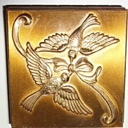 SALE Vintage Repousee Double Swallows with Ribbon Gold-Tone Metal Compact