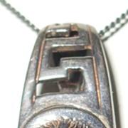 SALE Vintage 925 Sterling Medusa Pendant and Italian Sterling Chain