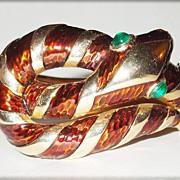 SALE Crown Trifari Garden of Eden Enameled Snake Bracelet with Emerald Eyes