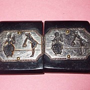 SALE Vintage Wood and Etched Metal French Court Figural Belt Buckle