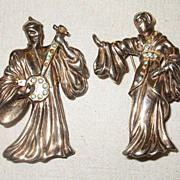 SALE 1940s Musical Sterling Couple with Peridot Rhinestones Figural Set