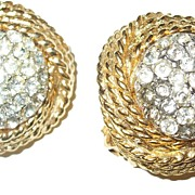 SALE Donald Stannard Rhinestone and Braid Earrings