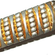 SALE Unusual Signed Harwood Flexible Metal Memory Bracelet