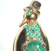 SALE Mr. Penguin Tuxedoed Green Rhinestone Figural Brooch