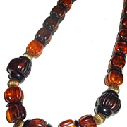 SALE Funky and Fun Rootbeer and Brown Lucite Barrel Bead Necklace