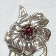 SALE 1940s Sterling and Garnet Heavy Floral Brooch