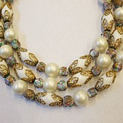 SALE Triple Strand Oblong Wedding Beads with Baroque Detailing and Confetti Bead Spacers