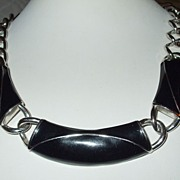 SALE MONET Black Enamel and Silver Tone Metal Modernist Necklace