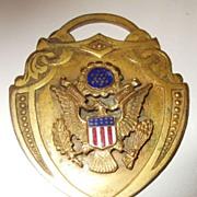 SALE Unusual Americana Eagled Medallion Pendant with Enamel