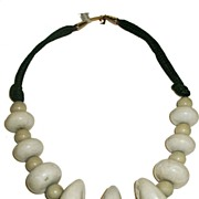 SALE PIERRE CARDIN 1960s Flintstone's Cave Man Modernist Clay Bead and Rope Necklace