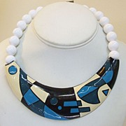 SALE MONET Psychedelic Pattern Necklace with Beads