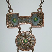 SALE MEXICO Mixed Metal and Bead Ethnic Modernist Pendant Necklace