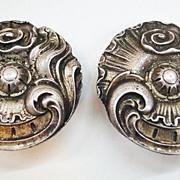 SALE 1970s Pewter Look Metal Earrings with Gothic Look
