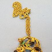 SALE Humongous Sculptural Modernist Freeform Pendant Necklace with Multi Colored Stones