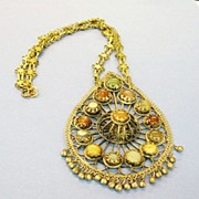 SALE Giant Vintage Middle Eastern Multi Colored Stone Pendant Necklace