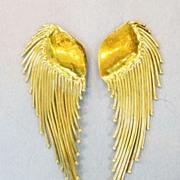 SALE 1980s Mixed Metal Celestial Swirling Comet Earrings
