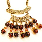 SALE Giant Layered Etruscan Ethnic Dangling Pendant Necklace with Tortoise Colored Lucite Bead