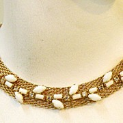 SALE HATTIE CARNEGIE White Milk Glass and rhinestone Mesh Choker Collar Necklace